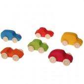 6 Gekleurde Houten Auto's