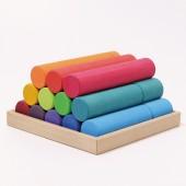 Bouwblokken Cilinder - Groot - Regenboog