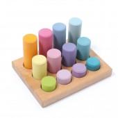 Stapelspel - Kleine cilinderblokken - Pastel