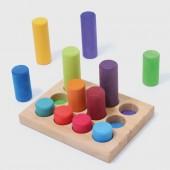Stapelspel - Kleine cilinderblokken - Regenboog