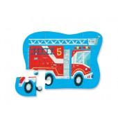 12-delige Mini Puzzel - Brandweerwagen (Fire Truck)