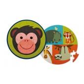 24-delige ronde dubbelzijdige Puzzel - Aap & Vrienden (Monkey Friends)