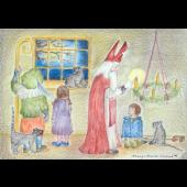 Kaart - Sint Nicolaas steekt de adventkaars aan